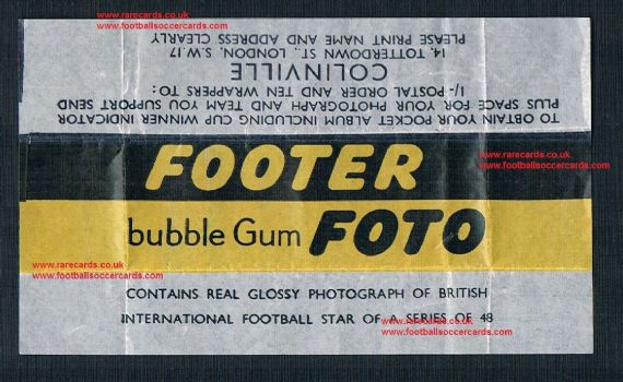 1958 a Colinville Footer Bubble Gum Foto British International Football Stars cards wrapper